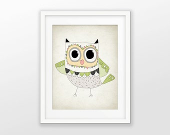 Owl Nursery Print - Wise Owl Bird Decor - Cute Owl Wall Art - Owl Baby Shower Gift - Kids Playroom Decor - Nursery Picture #44