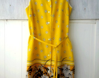 Sunny Day Yellow Button Down Sleeveless Dress