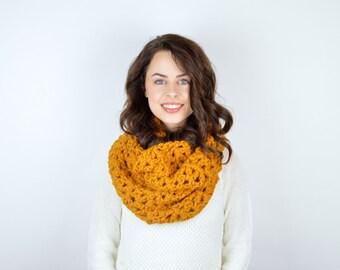 Chunky Crochet Infinity Circle Scarf // The ALPINE // Butterscotch
