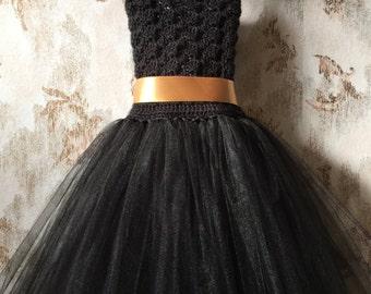 Black flower girl dress, birthday tutu dress, crochet tutu dress, corset tutu dress