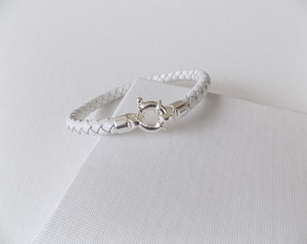 White Braided Leather Bracelet 925 Silver Clasp