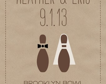 Bowling Wedding Save the Date Postcard