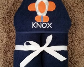 Personalized Navy Airplane Hooded Towel