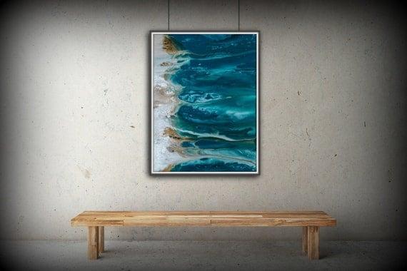 Abstract Art Blue Wall Art Coastal Landscape Giclee Large