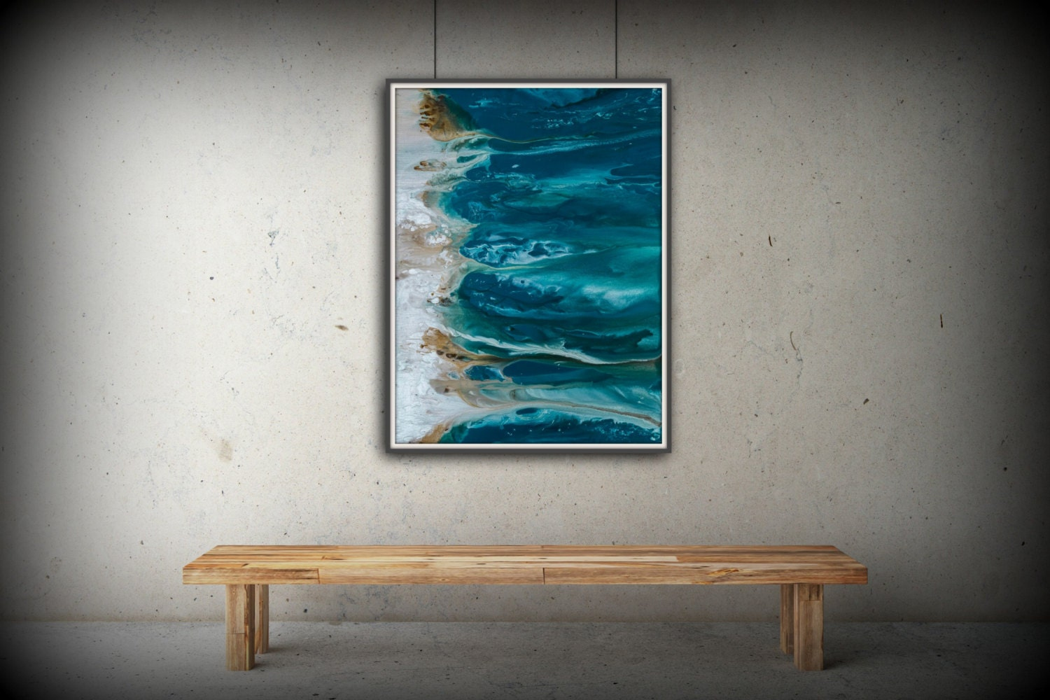 Abstract art blue wall art coastal landscape giclee large for Large colorful wall art
