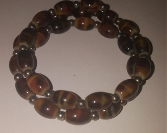 Brown and gray memory wire earthy bracelet