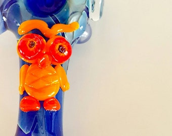 Solid Cobalt Blue Silver Fumed Yellow, Orange & Red Owl with Flower Stamp Hand Blown Glass Tobacco Pipe