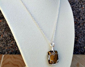 tigers eye crystal wire wrapped pendant necklace-tigers eye necklace-tigers eye jewelry-tigers eye pendant necklace -sterling silver