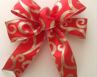 Christmas Red and Gold Decorative Bows / Christmas Tree Bows / Set of 6 / Red and Gold Xmas Bows /Handmade and Design in Wired Ribbon