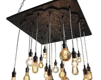 ON SALE NOW Black Industrial Tin Chandelier - Vintage Metal Chandelier With Nostalgic Bulbs
