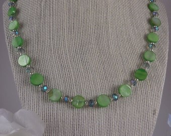 Retro Lime Green and Crystal Necklace