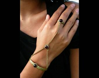 Brass slave bracelet, ring bracelet set, hand finger jewelry, hand jewellery, hand chain, bohemian slave bracelet, brass metal jewellery