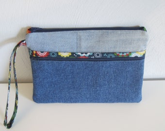 jeans bag with flower decoration,zippered  pouch,modern denim pouch,repurposed denim,recycled jeans, reused denim, e-reader bag, nook,kindle