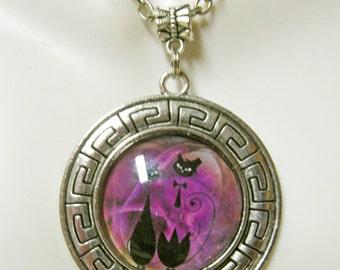 Cat wedding couple in fuschia pendant with chain - CAP26-023