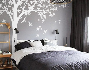 Tree Wall Decal Huge Tree wall decal Wall Mural Stickers Nursery Tree and Birds Wall Art Tattoo Nature Wall Decals Decor - K024
