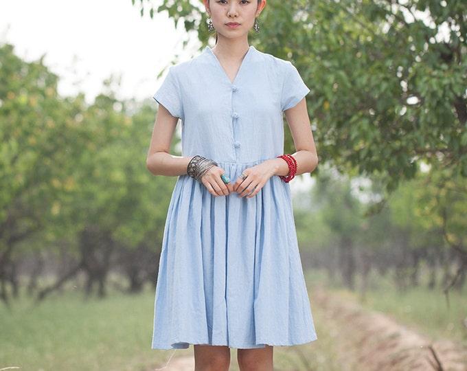 Women long dress - Sleeveless Dress - Pleated Dress - Summer dress - Linen dress - Made to order