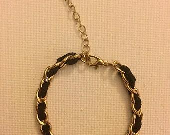 Vintage Gold Toned Black Velvet Bracelet