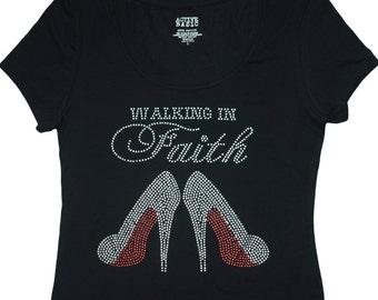 Walking in Faith T-Shirt - Faith Clothing -Scoop Neck Faith T-Shirt