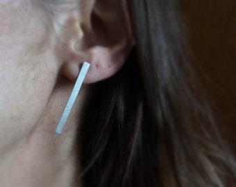 Long line earrings, Geometric earrings, minimalist earrings, sterling silver modern earrings, contemporary jewelry