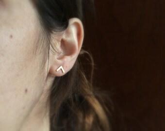 Small V earrings, chevron earrings, sterling silver post earrings, minimalist earrings, geometric earrings,modern earrings