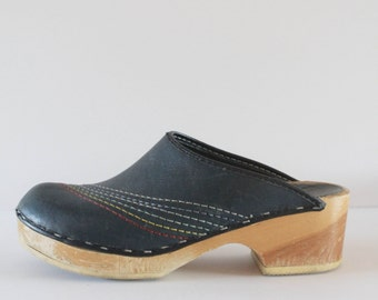RAD 80's Vintage Black Rainbow Top Stitch Wooden Clogs