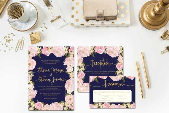 navy blush gold wedding invitations reception card rsvp - Navy And Blush Wedding Invitations