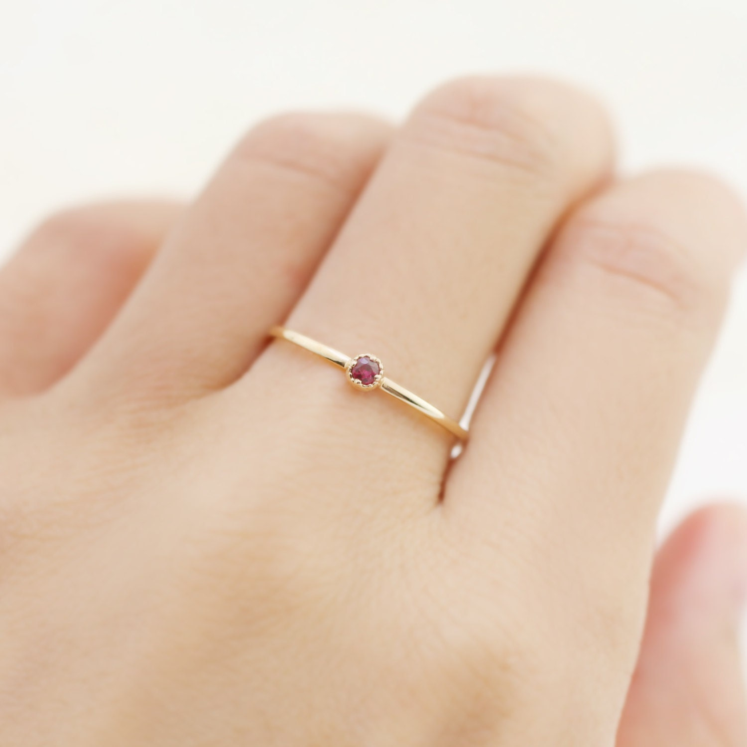 ruby engagement ring delicate simple tiny dainty ruby ring