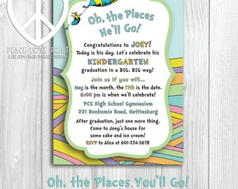 Oh The Places You'll Go Kindergarten Graduation 5x7 Invitation - Pink or Blue!