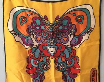 Vintage Peter Max Butterfly Faces Scarf