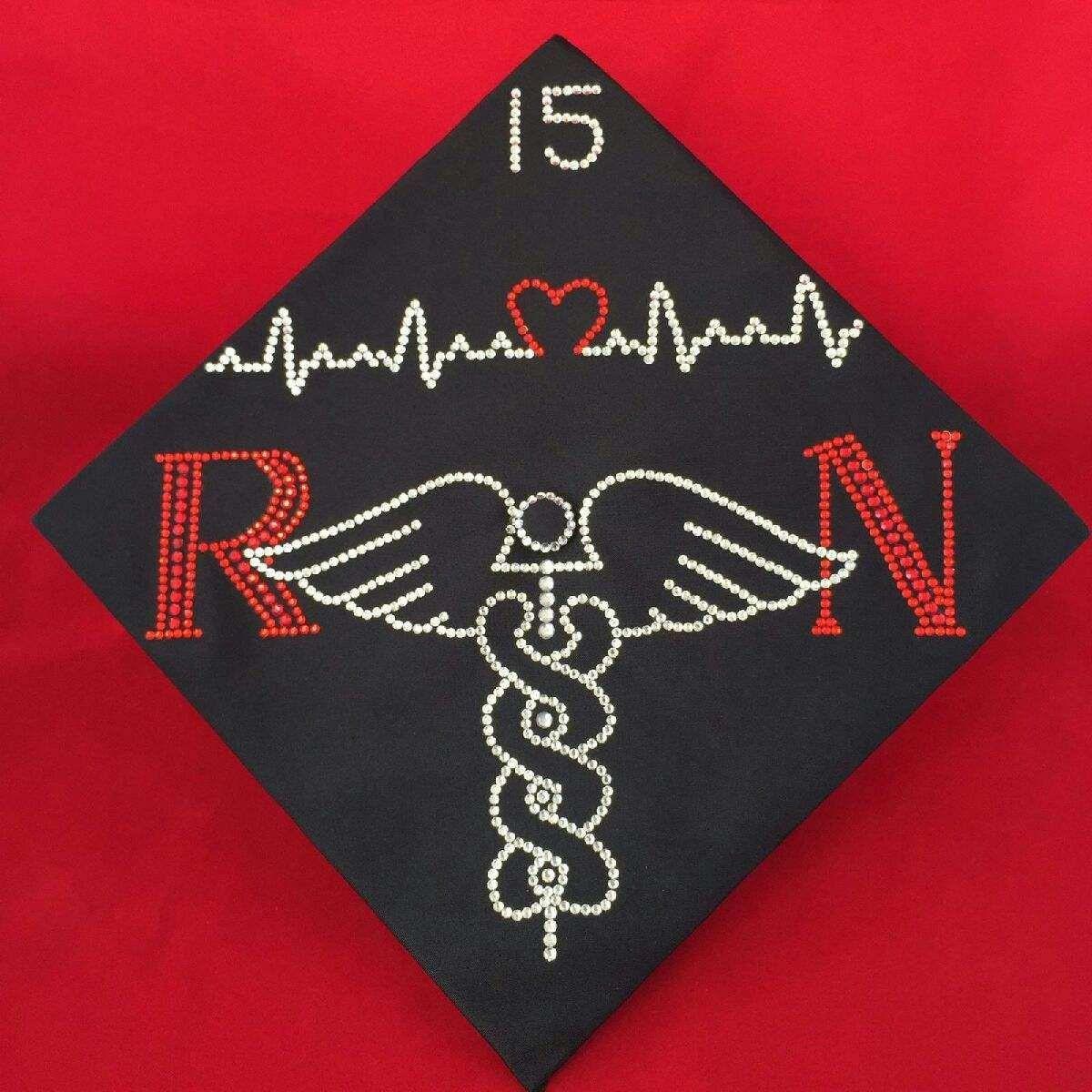 Nursing Custom Rhinestone Graduation Cap Designs