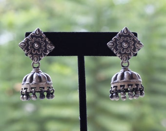 Sterling Silver oxidized antique finish Jhumka , Jumki,  Dome Shaped Dangle Chandelier Earring
