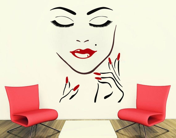 wall decals beauty salon girl face hand manicure nail lips. Black Bedroom Furniture Sets. Home Design Ideas