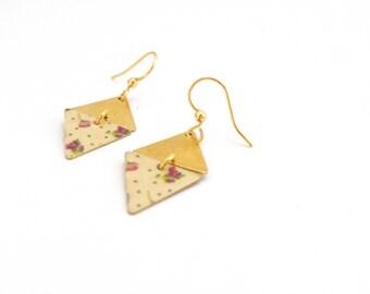 Golden earrings geometric lilac flowers and peas - handmade