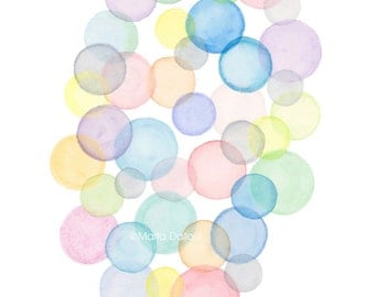 Good Bubble Art Print. Watercolor Bubbles Painting. Abstract Rainbow Bubbles.  Bubbles Modern Art.