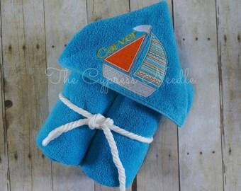 Custom Personalized Orange and Blue Sailboat Hooded Towel