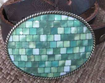 belt buckle green belt buckle shades of green blocks mosaic belt buckle bohemian belt buckle hippie gypsy boho accessories belt buckle
