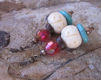 bohemian earrings white carved bone bead coconut palm turquoise red glass antiqued gold boho chic moroccan   dangle  drop  yoga earrings