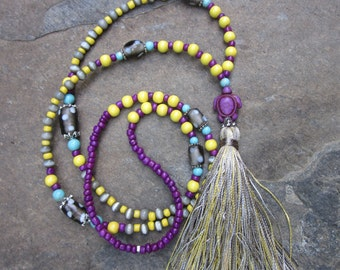long beaded necklace purple turtle jewelry necklace yellow wooden bead tassel necklace beach bohemian hippie chic seed bead tassel necklace