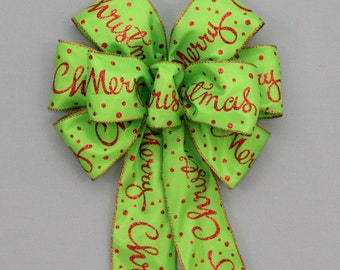 Red Merry Christmas Lime Bow - Christmas Wreath Bow