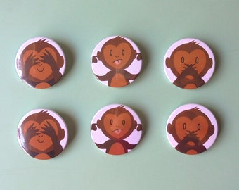 Three Wise Monkeys 3 Badges Set | Original Illustrated Button Pin Badge ! Emoji Monkey, See Hear Speak No Evil