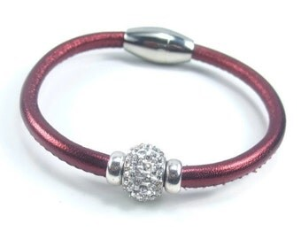 Red Leather Bracelet, Womens Leather Jewelry, Womens Leather Bracelet, Leather Rhinestone Bracelet, Leather Bangle, Womens Bracelet