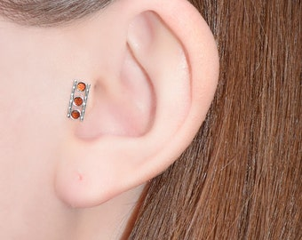 Silver 2mm Garnet Tragus Earring Stud 18 gauge - Nose Ring - Nose Stud - Cartilage Earring Stud - Helix Piercing - Helix Earring