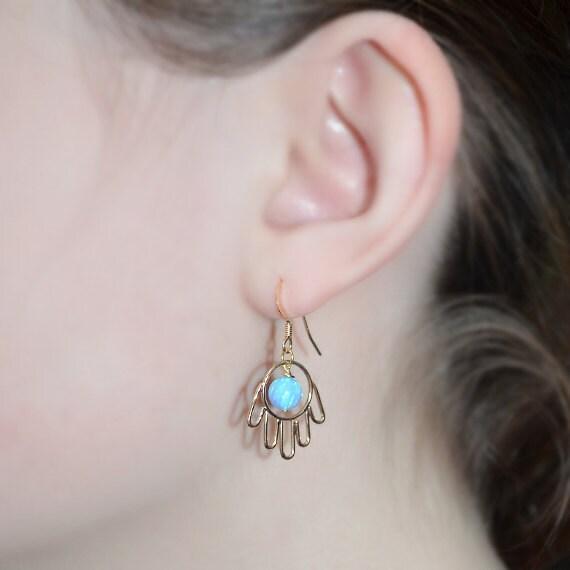 Gold Hamsa Dangle Blue Opal Earrings - Long Ball Drop Earrings - Dot Dangling Stud - Post Earrings - Opal Drop Earrings