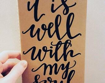 It is well with my soul prayer journal, moleskine kraft journal, scripture gift