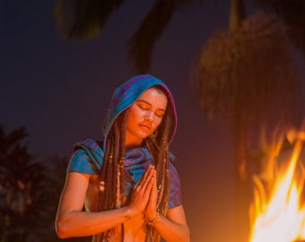 Hoodie Scarf (Blue) - Gypsy Wool Kashmiri Hoddie Scarf Bohemian Hippie Style Tribal Stylish Warm Scarf