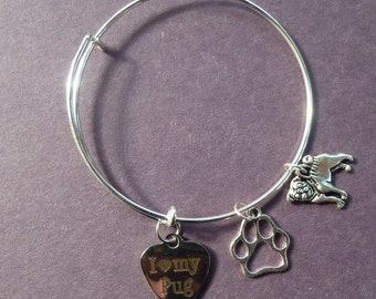 Expandable Wire Bracelet ~ Love My Pug ~ Adult or Child