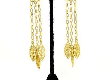 Long Golden Filigree Chain Dangle Pierced Earrings
