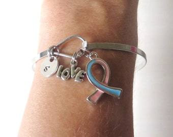 Pink Blue LOVE HOPE Customizable Awareness Ribbon Charm Stainless Steel Bangle Bracelet With Optional Love Hope and Letter Charm