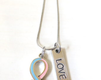 Pink and Blue Customizable Awareness Ribbon Stainless Steel Charm Necklace with Optional Add On Charms