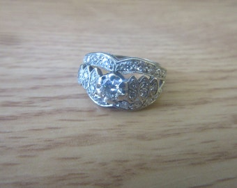 Vintage 14k white gold 1ct Diamond Wide Engament Ring 1/4ct round center diamond
